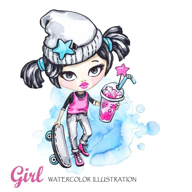 Ilustração do esporte do verão Menina do grunge do cartão da aquarela com skate e limonada teenager ilustração royalty free