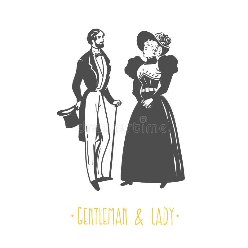 Ilustração do estilo da senhora e do cavalheiro do vintage ilustração stock