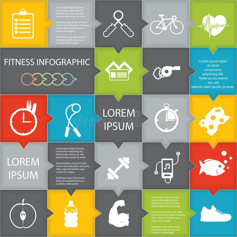 Ilustração do estilo de vida da saúde infographic no plano projetado ilustração royalty free