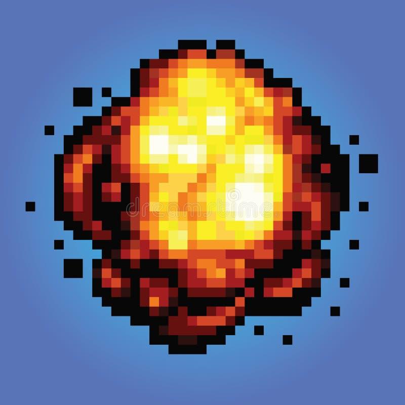 Ilustração do estilo do jogo da arte do pixel da explosão do golpe ilustração royalty free