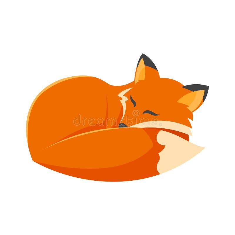 Ilustração do estilo dos desenhos animados do vetor da raposa do sono ilustração stock