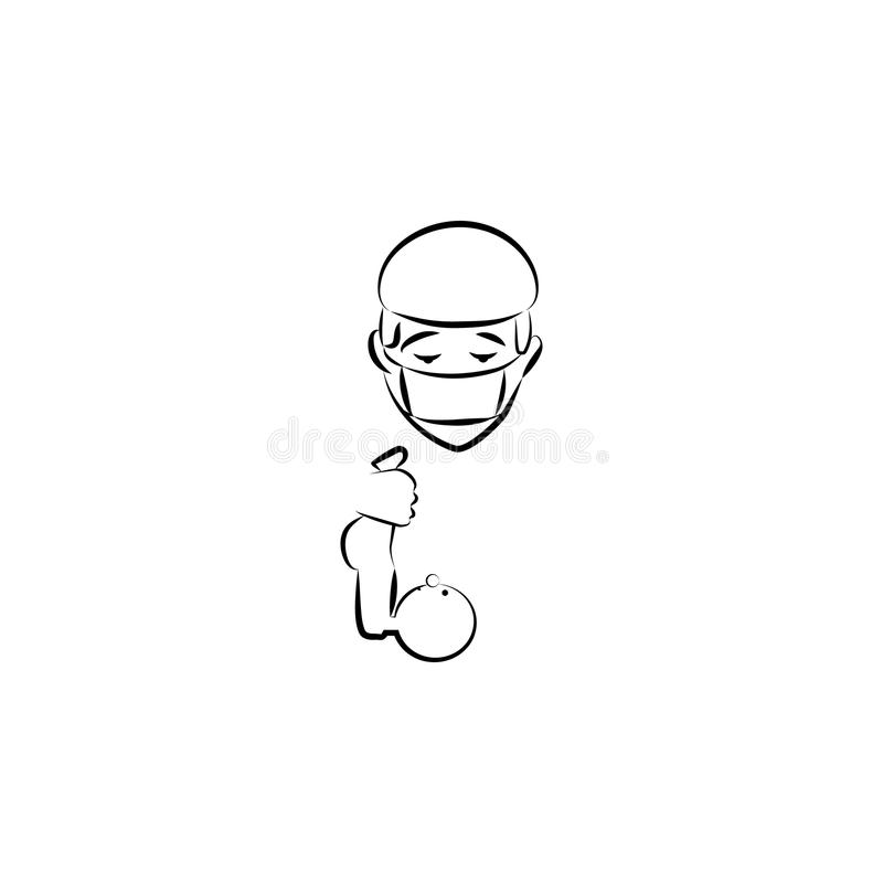 ilustração do estilo do esboço do avatar do doutor Elemento das profissões para a ilustração móvel dos apps do conceito e da Web  ilustração do vetor