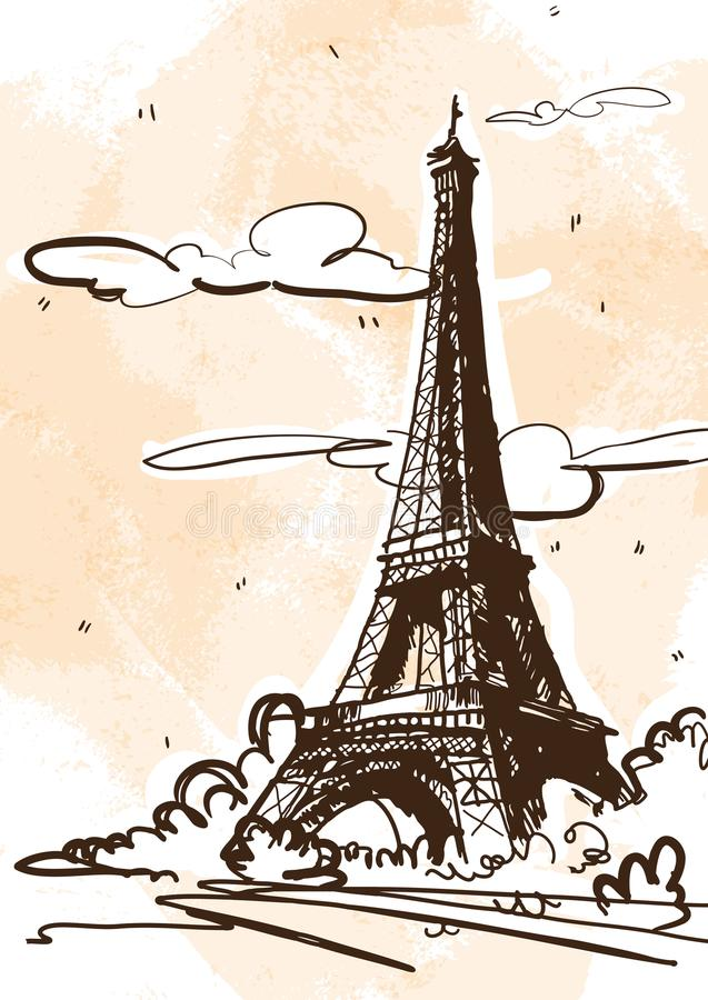 Ilustração do estilo do esboço do vetor da torre Eiffel France, Paris ilustração royalty free