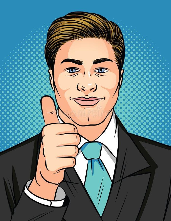 Ilustração do estilo do pop art da cor de um homem que mostra um sinal como O homem de negócios atrativo novo mantém o polegar ilustração do vetor