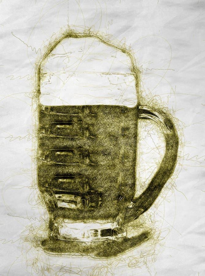 Ilustração do estilo tirado da cerveja à disposição ilustração royalty free