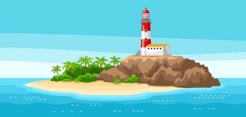 Ilustração do farol na paisagem rochosa da costa com oceano, palmeiras e rochas Fundo do curso ilustração royalty free