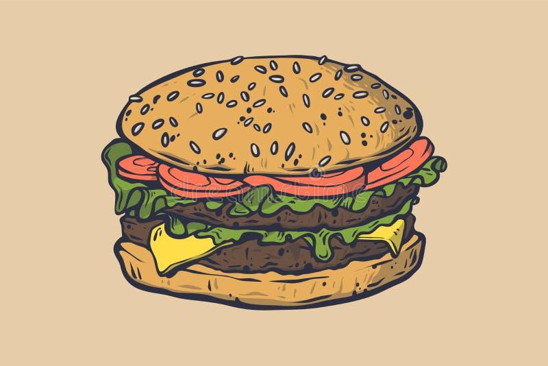 Ilustração do fast food do vetor Mão retro sinal tirado do hamburguer Ícone do fast food Emblema do fast food Sinal da barra do h ilustração royalty free