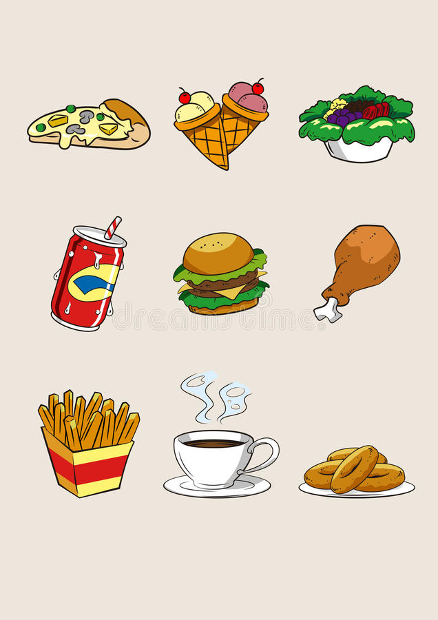 Ilustração do fastfood do ícone dos desenhos animados do alimento e da bebida foto de stock royalty free