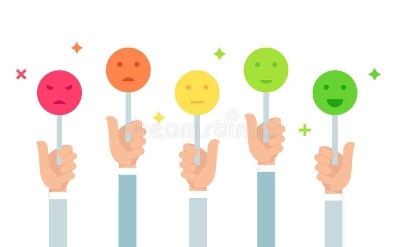 Ilustração do feedback de clientes Guardando sinais do humor de Emoji Escala do voto Projeto liso do vetor ilustração do vetor