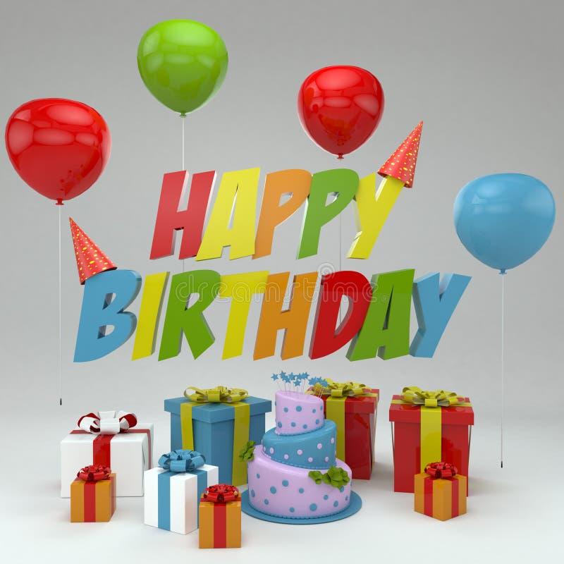 A ilustração do feliz aniversario 3D, rende das letras 3D, dos balões, dos presentes e do bolo imagens de stock