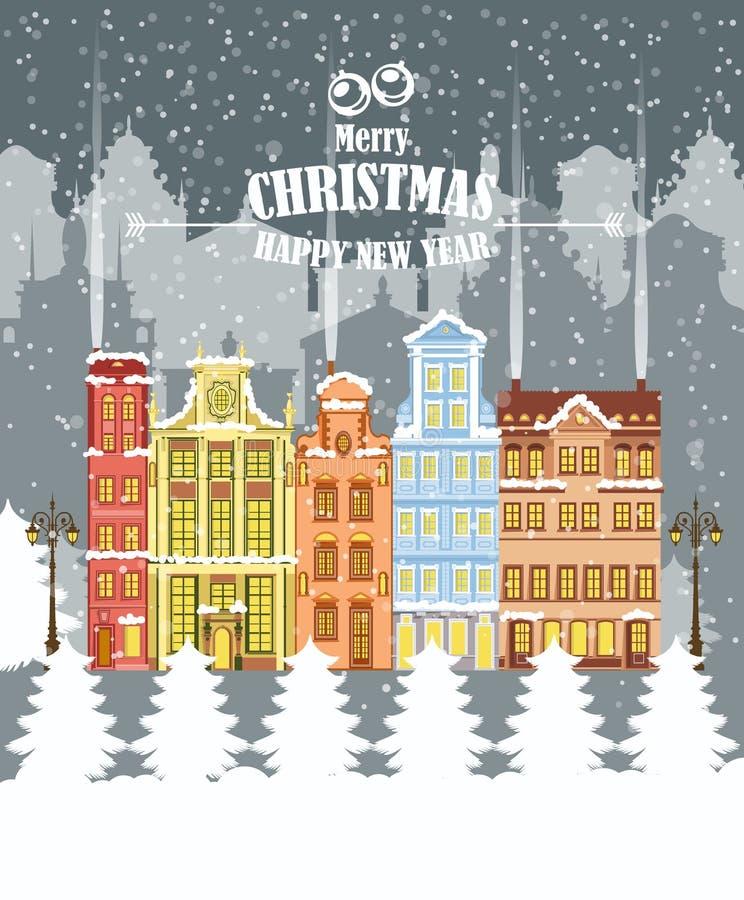 Ilustração do Feliz Natal Paisagem do inverno Cartão do Feliz Natal e do ano novo feliz ilustração do vetor