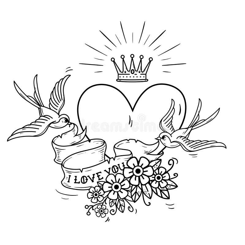 Ilustração do feriado com a coroa do coração e do ouro As andorinhas voam e mantêm a fita decorada com flores Eu te amo ilustração stock