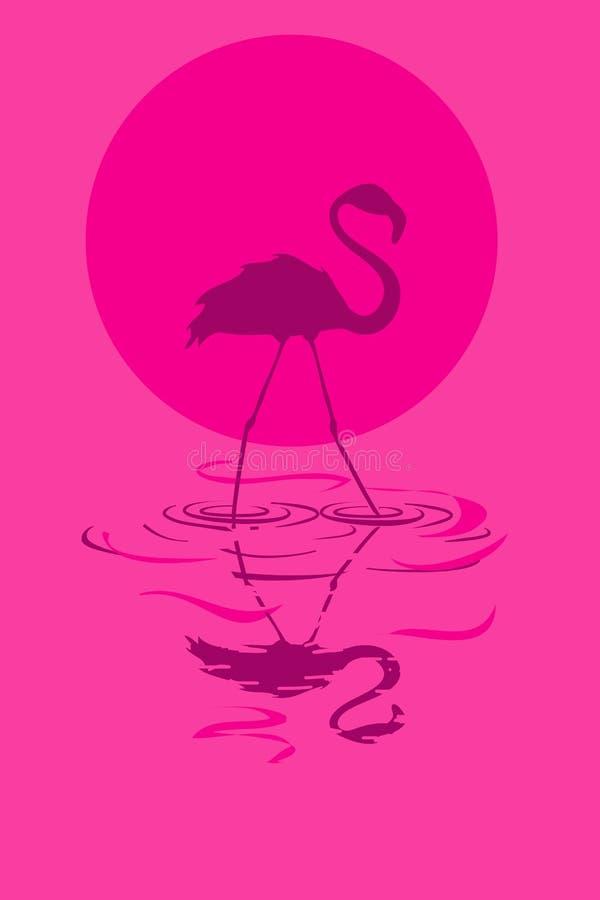 Ilustração do flamingo no por do sol ou no nascer do sol ilustração stock