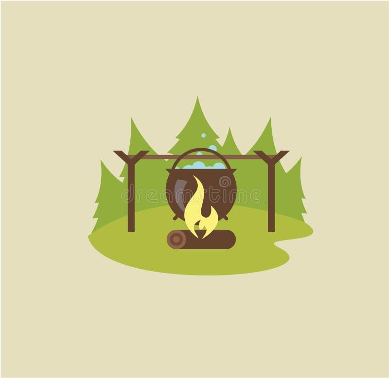 Ilustração do fogo do acampamento ilustração do vetor
