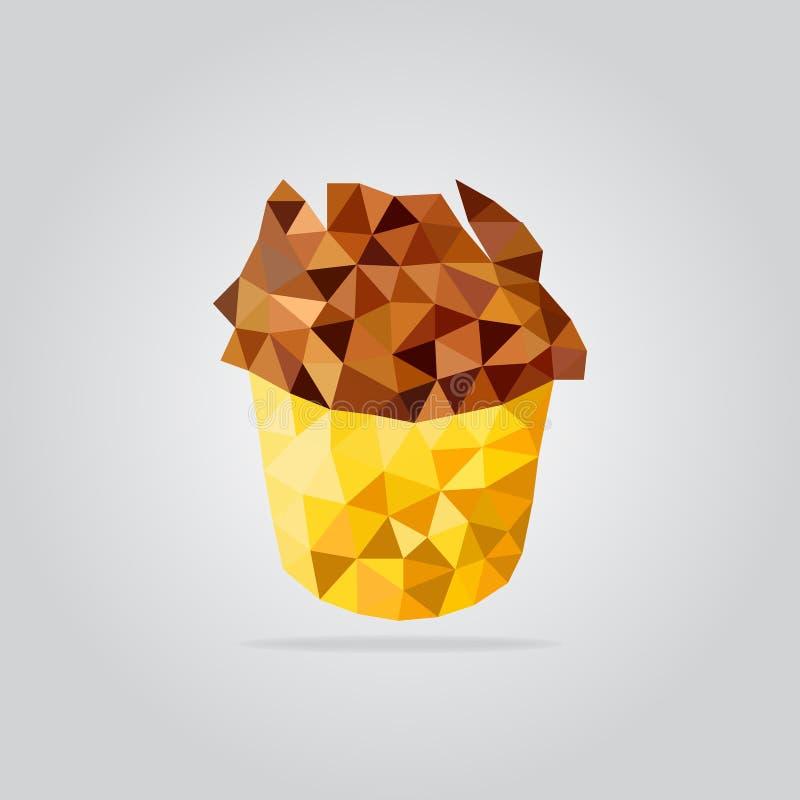 Ilustração do frango frito do polígono ilustração royalty free