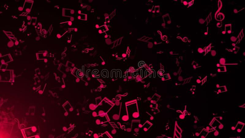Ilustração do fundo abstrato com muitos notas da música do voo, rendição 3D ilustração stock