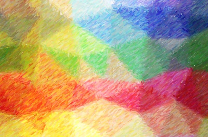 Ilustração do fundo alto da pintura da cobertura do lápis da cor verde, azul, amarela e vermelha, gerado digitalmente ilustração stock