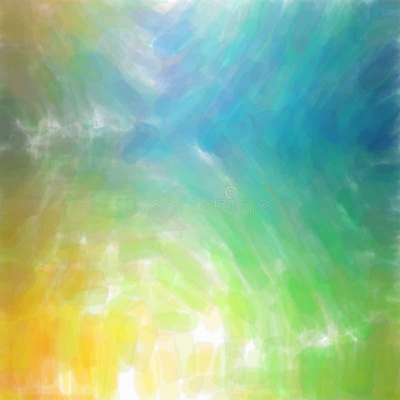 Ilustração do fundo amarelo, verde e azul do quadrado da aquarela ilustração stock