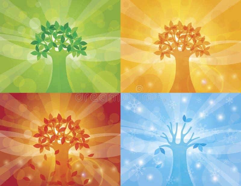 Ilustração do fundo da árvore de quatro estações ilustração stock
