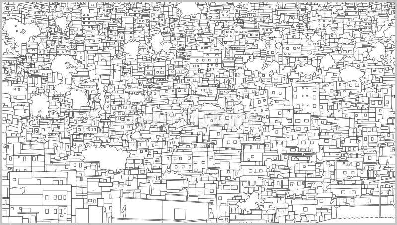 Ilustração do fundo da arquitetura da cidade brasileira com construção residencial no detalhe alto ilustração do vetor
