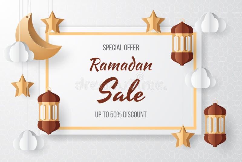 Ilustração do fundo da venda da ramadã corte do papel ilustração royalty free
