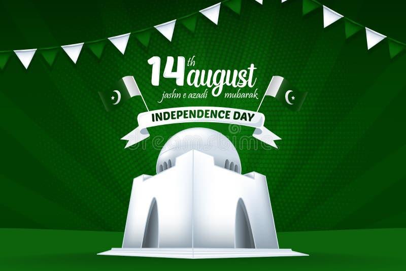 Ilustração do fundo de 14 August Mubarak Pakistan Independence Day Vetora ilustração do vetor