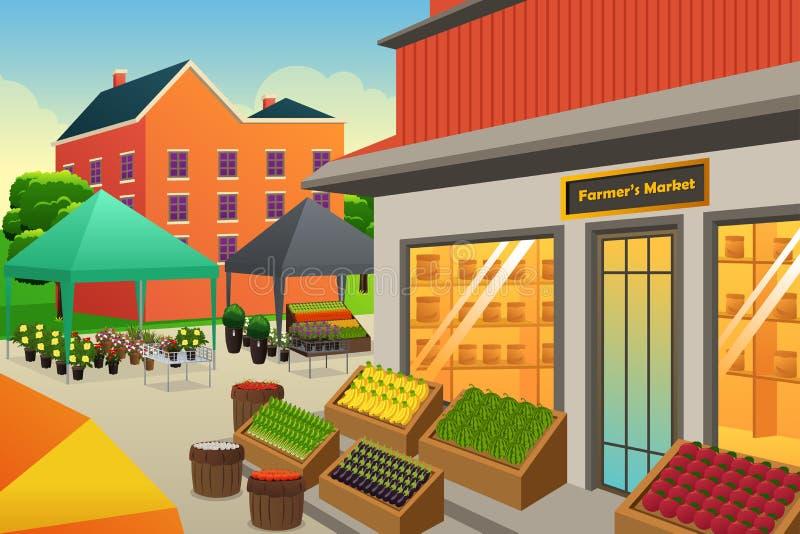 Ilustração do fundo do mercado dos fazendeiros ilustração stock