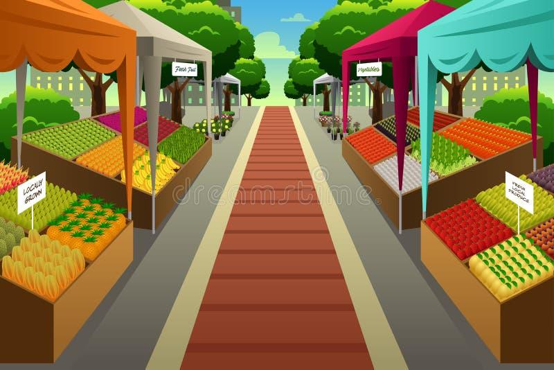 Ilustração do fundo do mercado dos fazendeiros ilustração royalty free