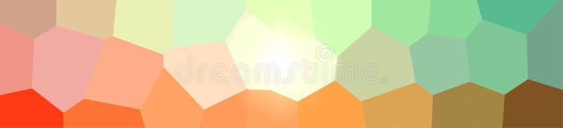 Ilustração do fundo gigante verde e alaranjado do hexágono, bandeira abstrata ilustração stock