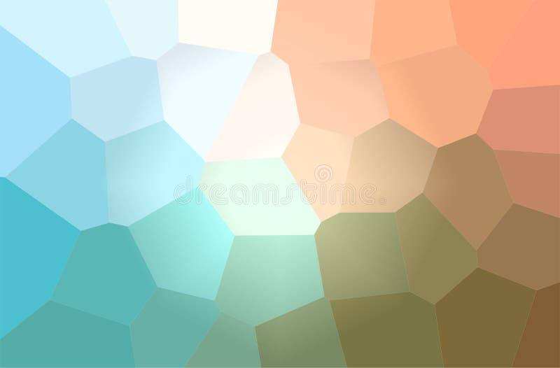 Ilustração do fundo horizontal do hexágono gigante azul, alaranjado e verde ilustração stock