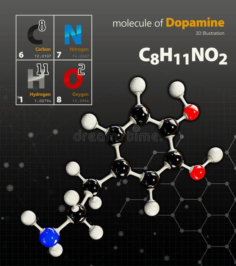 Ilustração do fundo preto isolado molécula da dopamina fotografia de stock