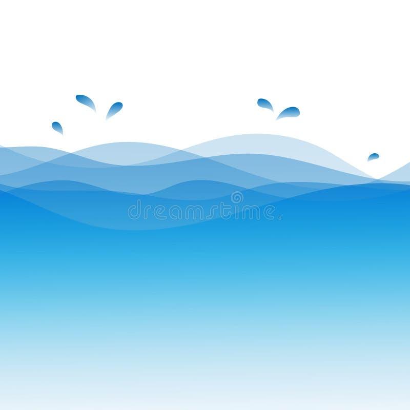 Ilustração do fundo do vetor do sumário da onda de água azul ilustração royalty free