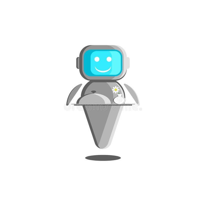 Ilustração do garçom do robô, conceito do assistente robótico com inteligência artificial Um bot de sorriso com alimento e um vas