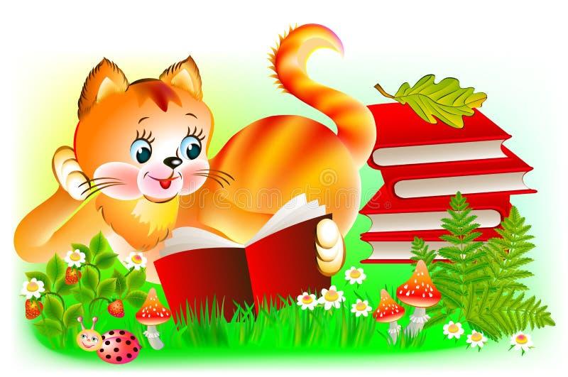 Ilustração do gatinho feliz que lê um livro ilustração do vetor