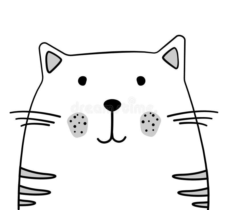 Ilustração do gato do esboço da garatuja Gato do vetor dos desenhos animados pet Animal doméstico Cartão, projeto do cartaz Desen ilustração do vetor