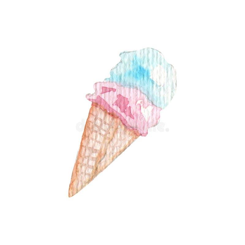 Ilustração do gelado do curso do verão da aquarela ilustração do vetor