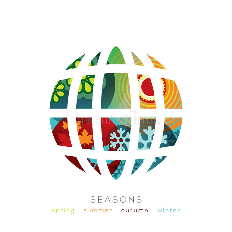Ilustração do globo com conceito de quatro estações ilustração royalty free
