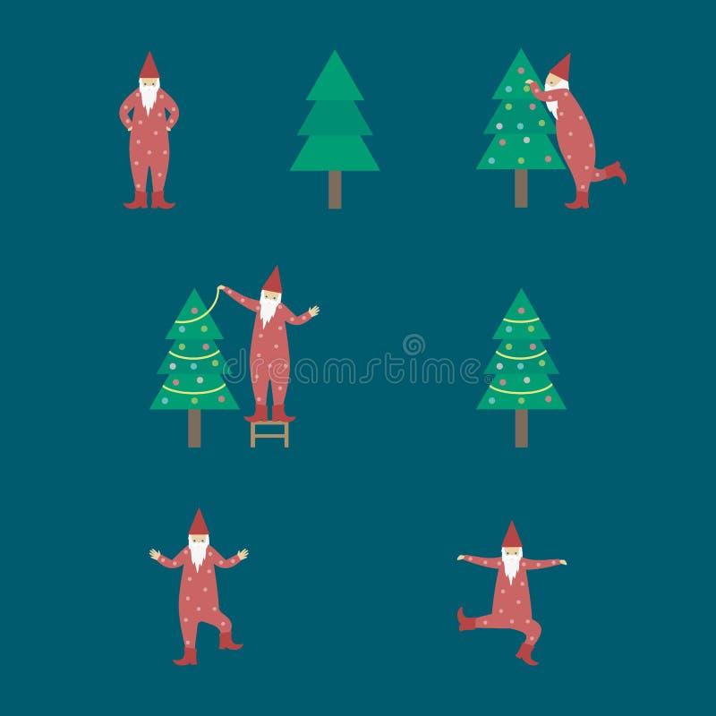 Ilustração do gnomo que decora a árvore de Natal ilustração royalty free