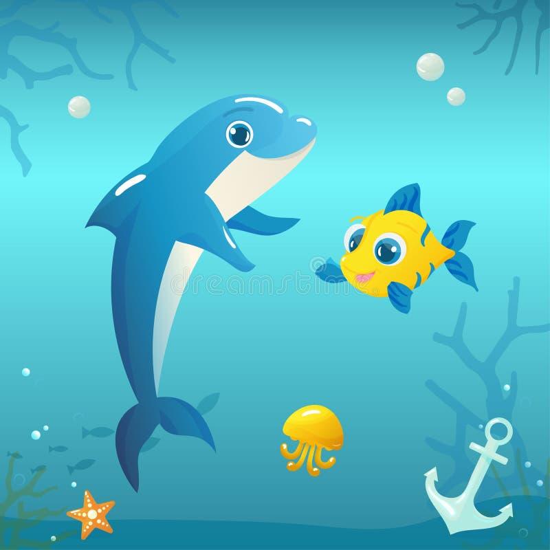 Ilustração do golfinho com peixes e medusa em vagabundos subaquáticos ilustração stock