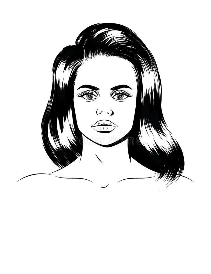 Ilustração do gráfico de vetor de um retrato fêmea Cara de uma menina bonita isolada do fundo branco ilustração royalty free