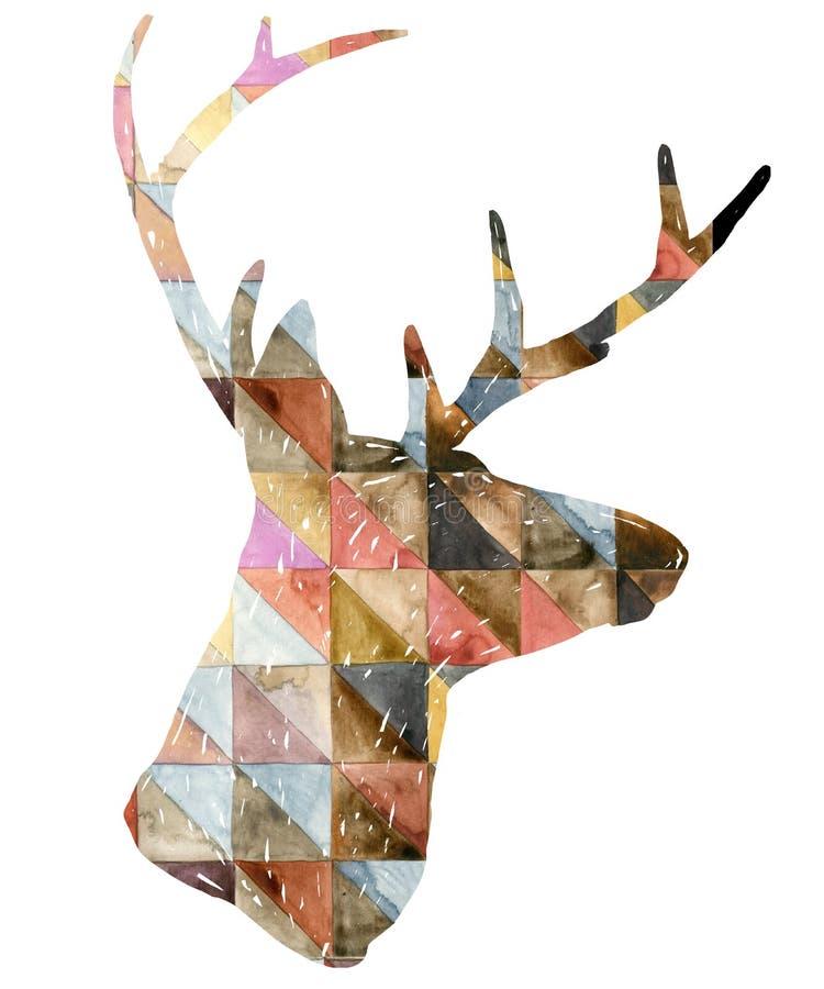 Ilustração do gráfico dos cervos da aquarela ilustração do vetor