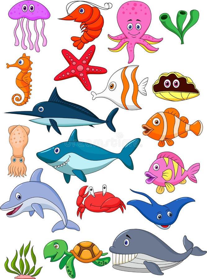 Grupo dos desenhos animados da vida marinha ilustração do vetor