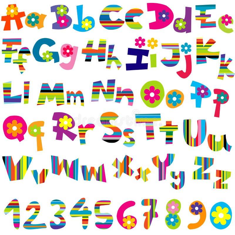 Ilustração do grupo e dos números do alfabeto ilustração do vetor