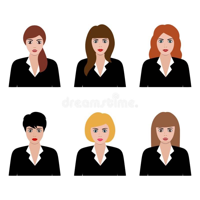 Ilustra??o do grupo liso do avatar do ?cone, f?mea, menina, mulher de neg?cio no fundo branco ilustração do vetor