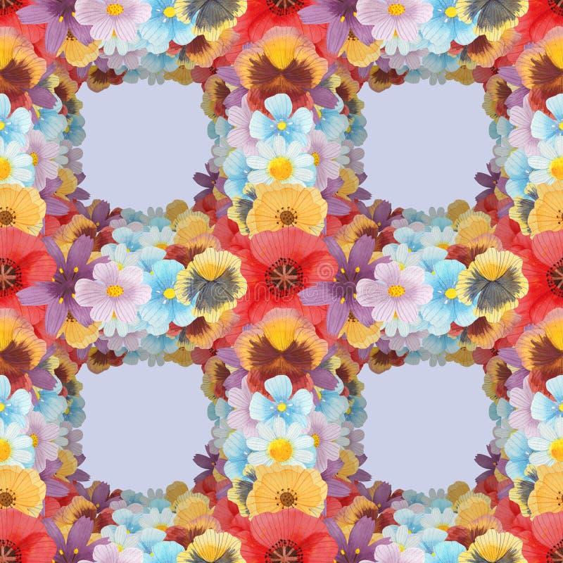 Ilustração do grupo do teste padrão da aquarela das flores selvagens sem emenda ilustração royalty free