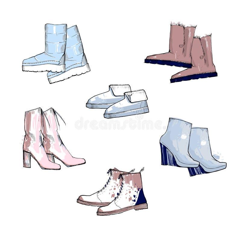 Ilustração do grupo tirado mão com as sapatas das mulheres do inverno Colora calçados da vista superior para a fêmea e a senhora  ilustração royalty free
