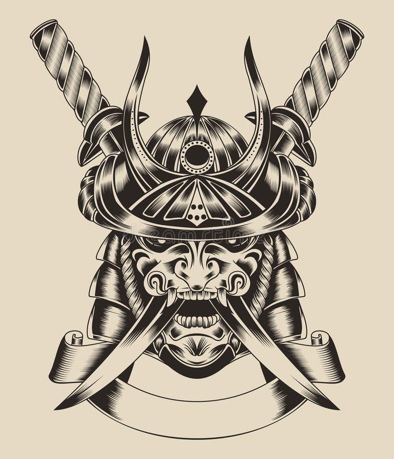 Ilustração do guerreiro da máscara com espadas imagem de stock