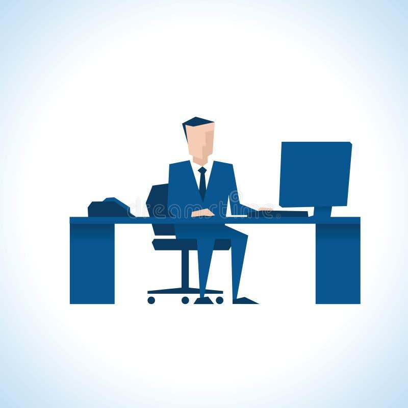 Ilustração do homem de negócios Sitting At Desk que usa o computador ilustração royalty free
