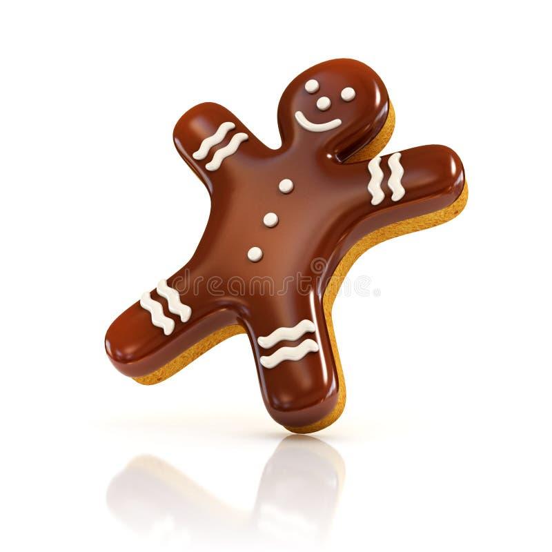 Ilustração do homem de pão-de-espécie 3d do biscoito do chocolate no branco ilustração stock