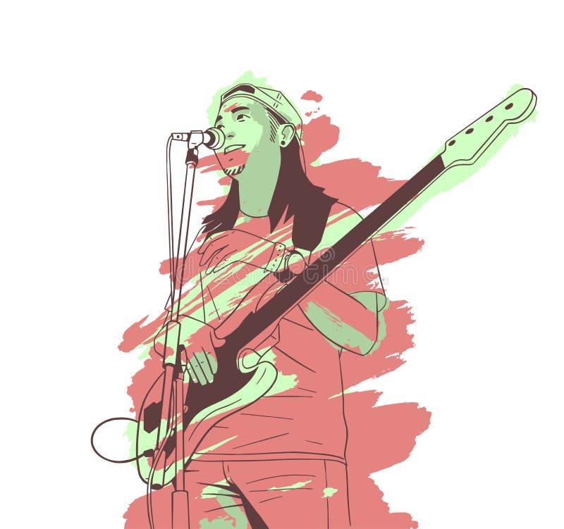 Ilustração do homem novo que joga a guitarra viva na fase ilustração royalty free